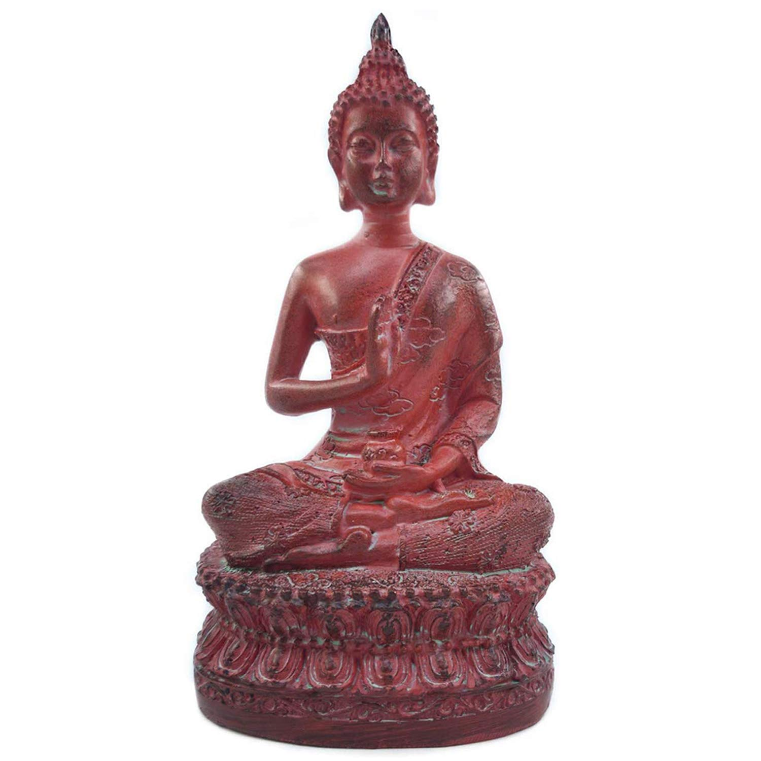 ornerx Thai Sitting Buddha Statue for Home Decor Red 6.7""