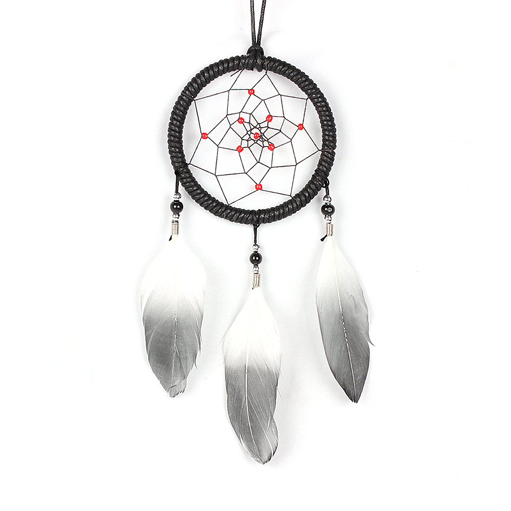 "Ornerx Dream Catcher Wall Home Decor White Grey 13.78"" Long"