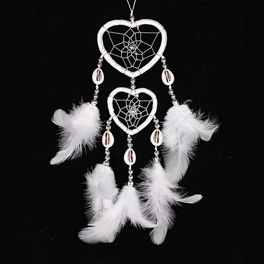 "Ornerx Dream Catcher Heart Shape Hanging Ornament White 9"" Long"
