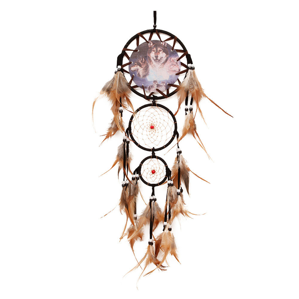 "Ornerx Dream Catcher Wolf Wall Hanging Ornament 27.6"" Long"