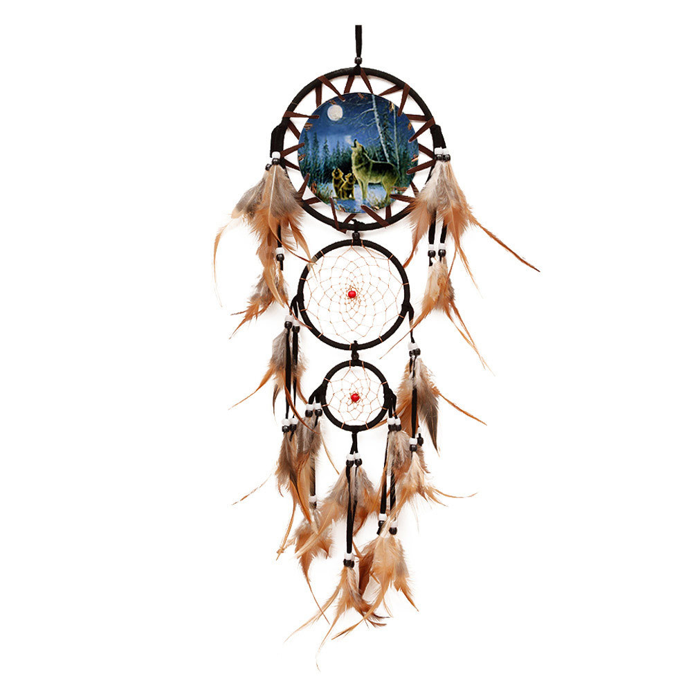 "Ornerx Dream Catcher Wolves Wall Hanging Ornament 27.6"" Long"