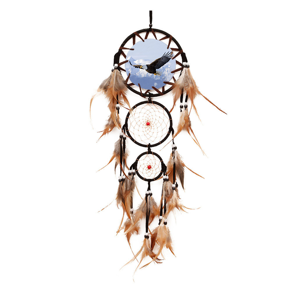 "Ornerx Dream Catcher Eagle Wall Hanging Ornament 27.6"" Long"