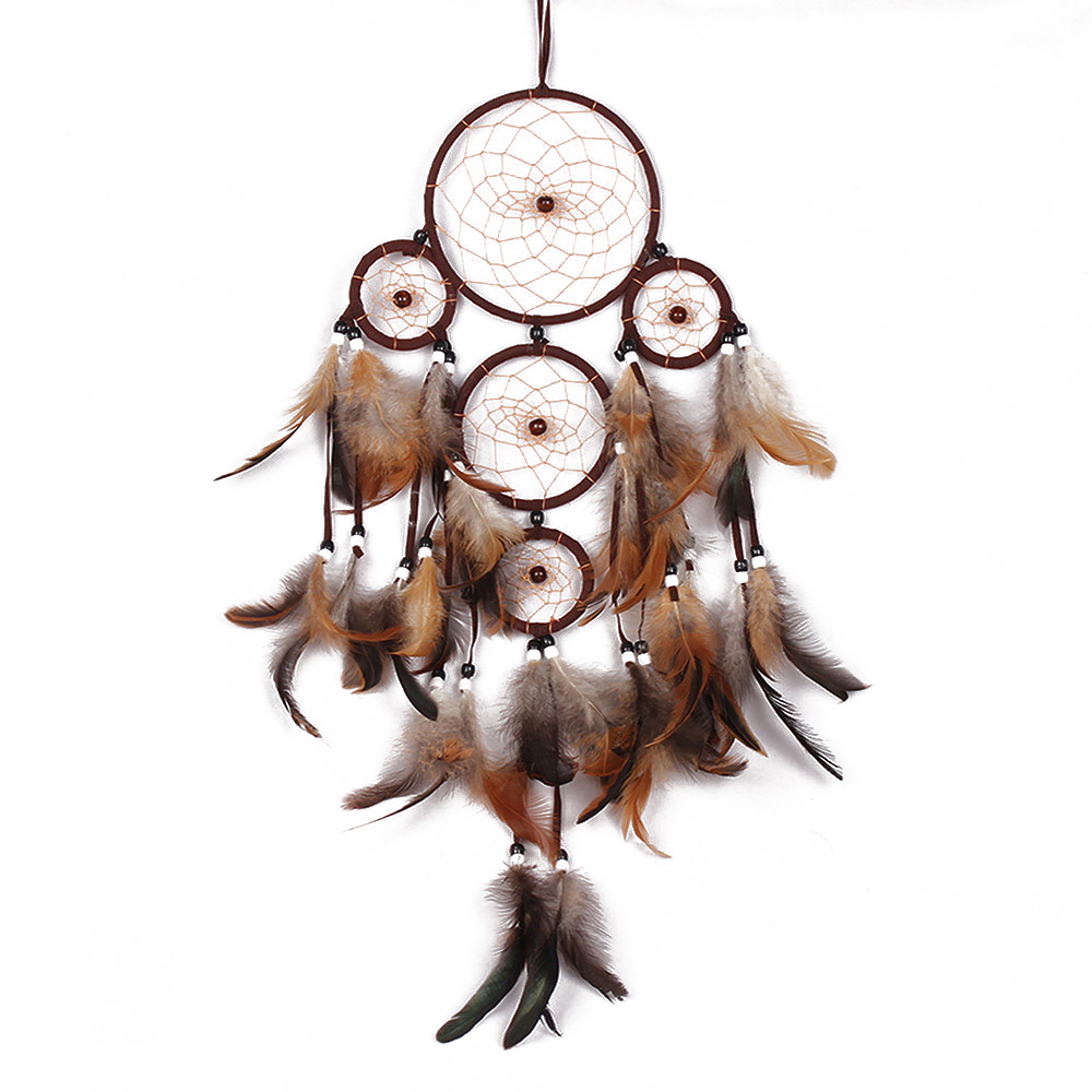 "Ornerx Dream Catcher Wall Hanging Ornament Brown 23.6"" Long"