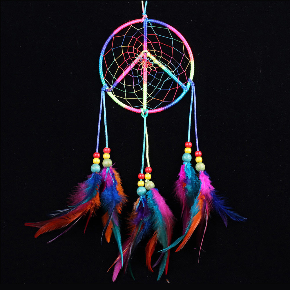 "Ornerx Dream Catcher Wall Hanging Decor Multicolor 19.7"" Long"