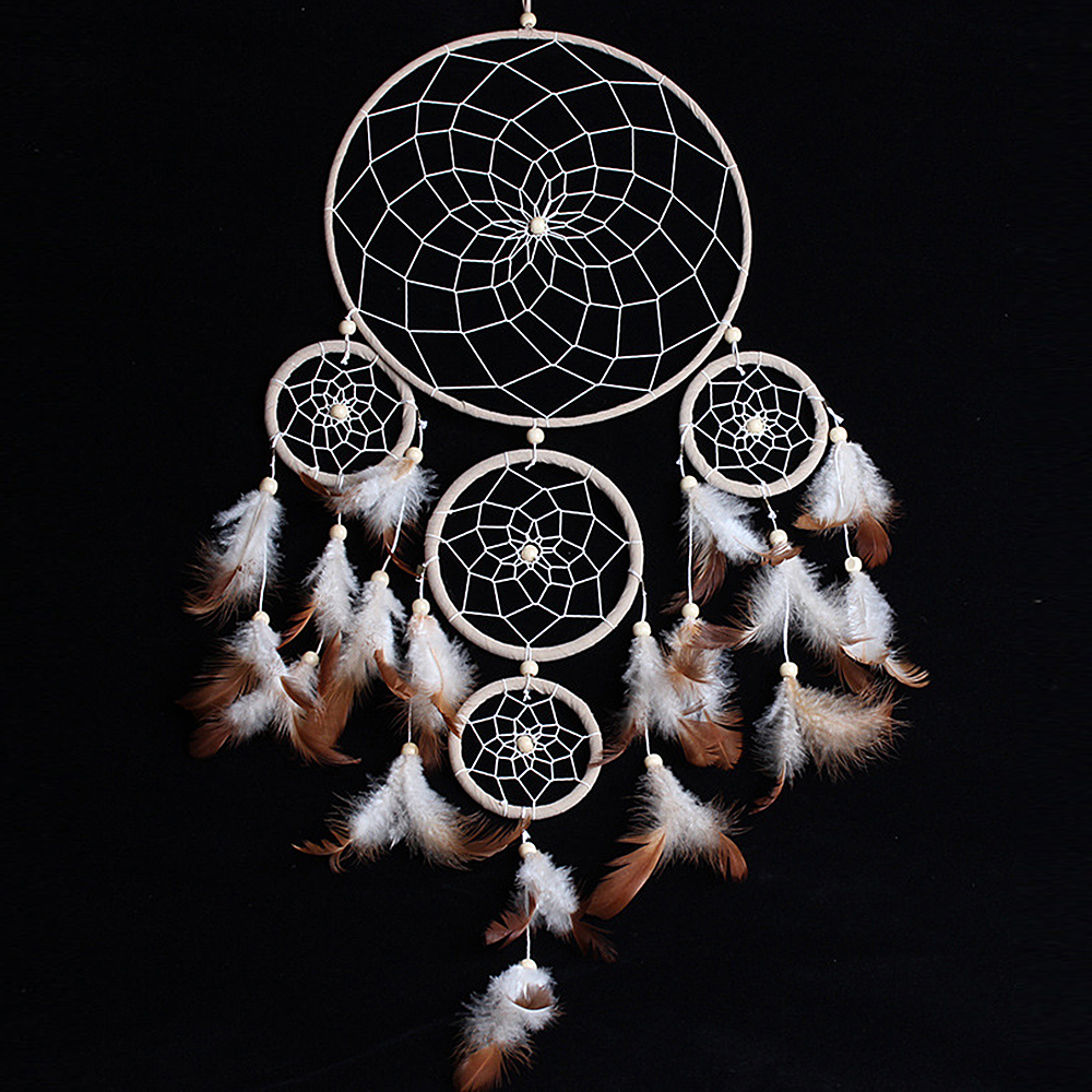 "Ornerx Dream Catcher Wall Hanging Decor White Brown 27.6"" Long"