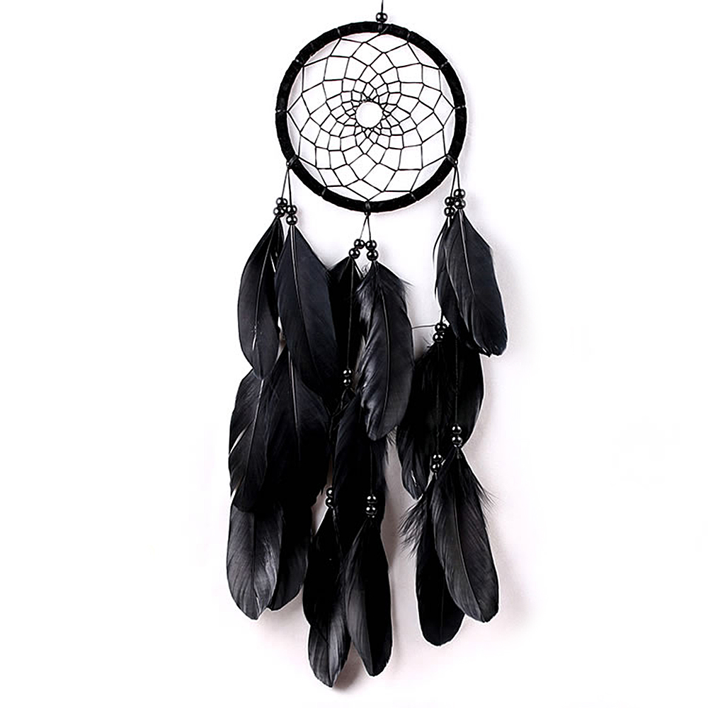 "Ornerx Dream Catcher Wall Hanging Ornament Black 17.7"" Long"