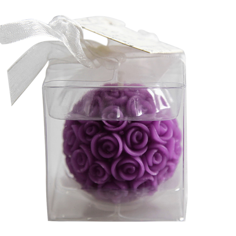 Ornerx Purple Rose Ball Shaped Candles for Romantic Dinner Set of 6