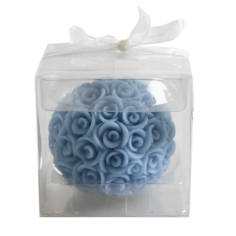 Ornerx Blue Rose Ball Shaped Candles for Romantic Dinner Set of 6