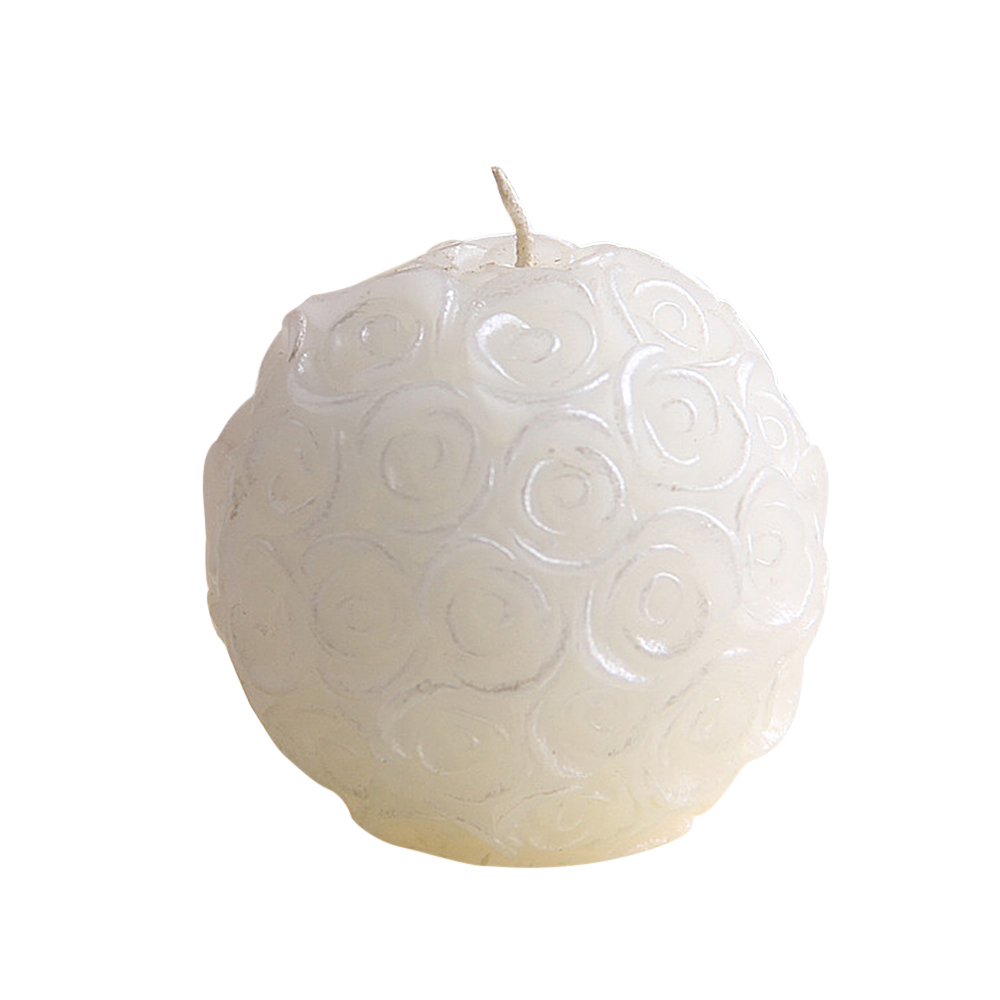 Ornerx White Rose Ball Shaped Candles for Romantic Dinner Set of 6