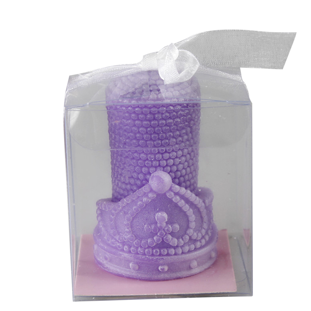 Ornerx Purple Pearl Crown Candles for Wedding Supplies Set of 8