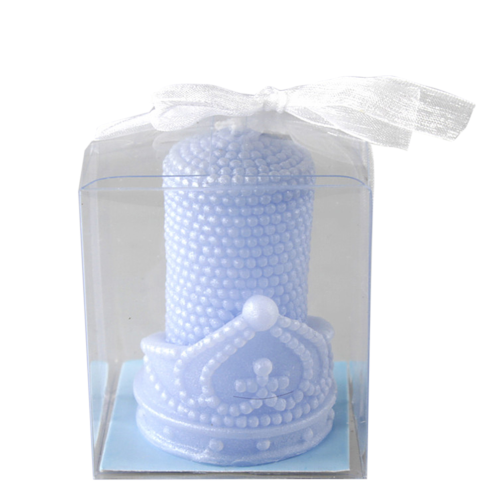 Ornerx Blue Pearl Crown Candles for Wedding Supplies Set of 8