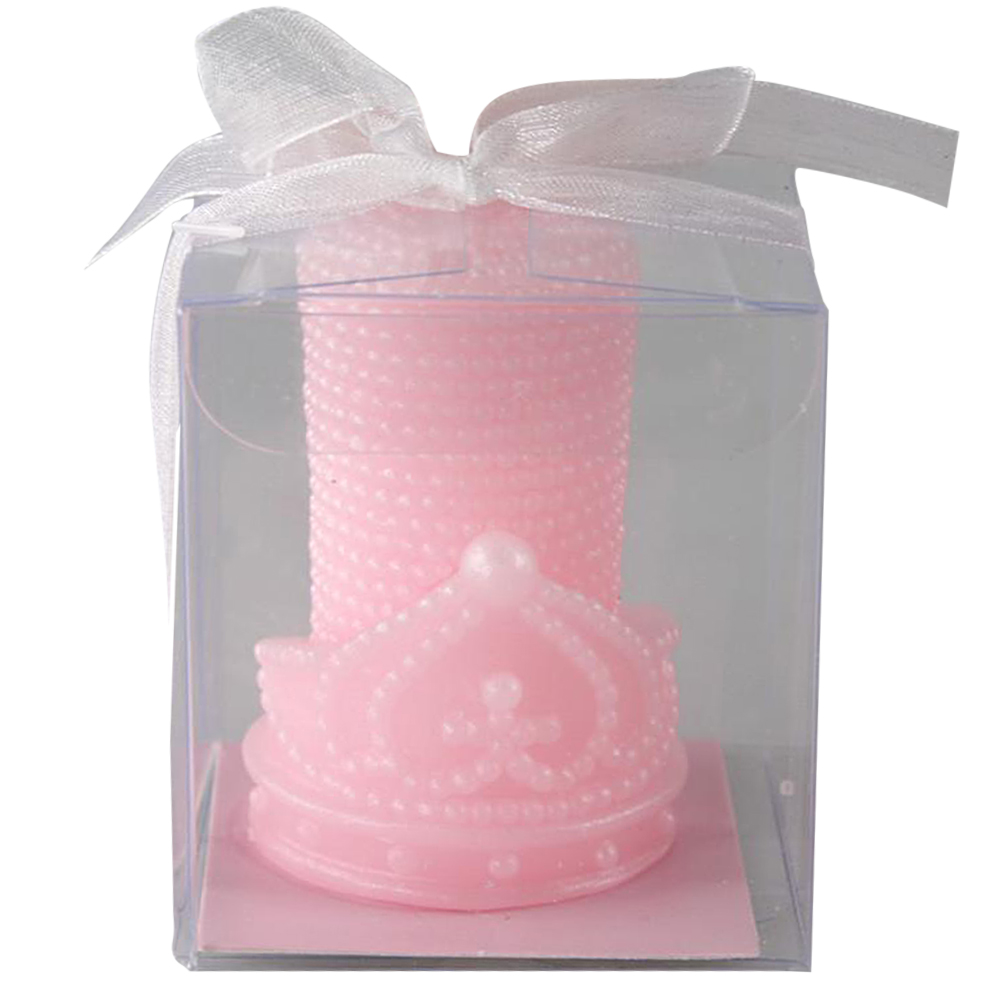 Ornerx Pink Pearl Crown Candles for Wedding Supplies Set of 8