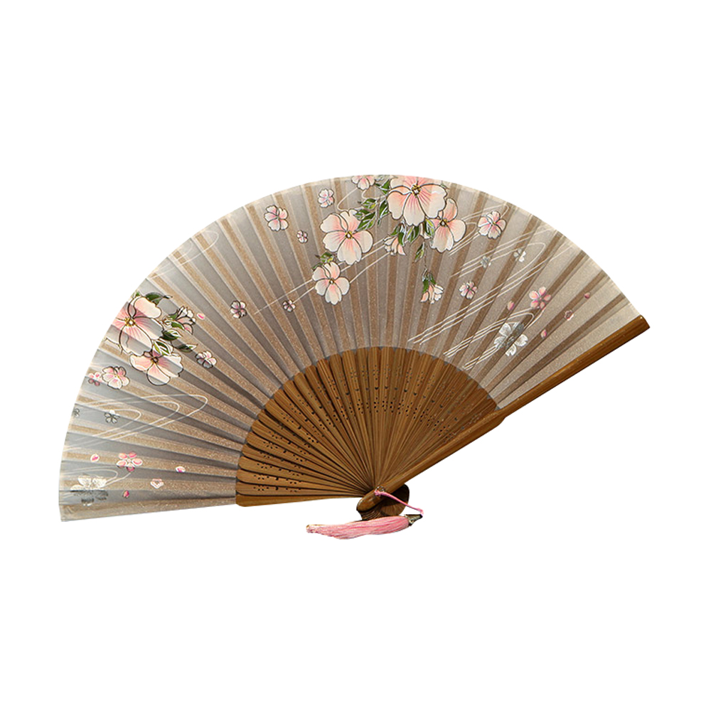 Ornerx Chinese Style Blooming Flower Pattern Folding Fan Coffee