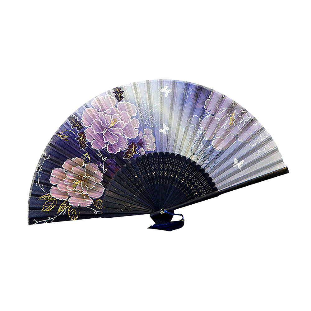 Ornerx Chinese Style Blooming Flower Pattern Folding Fan Blue