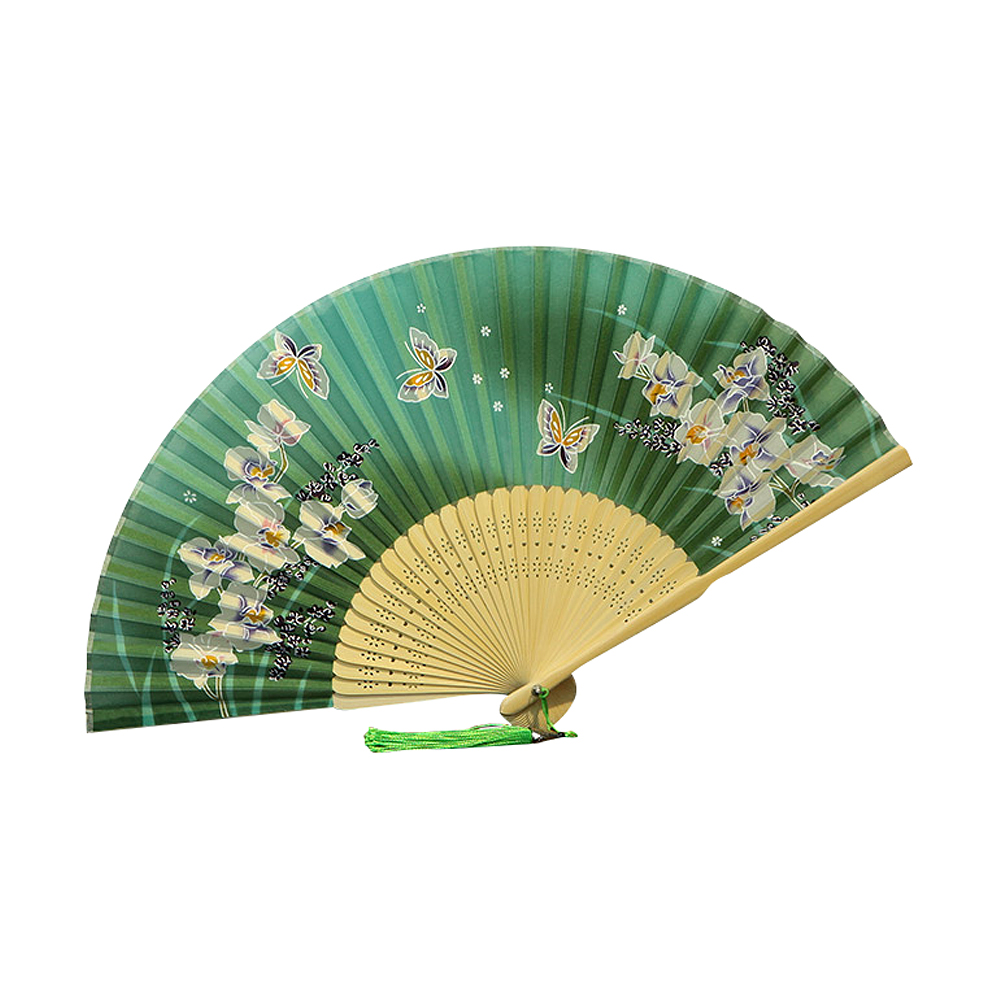Ornerx Chinese Style Butterfly Floral Printed Folding Fan Green