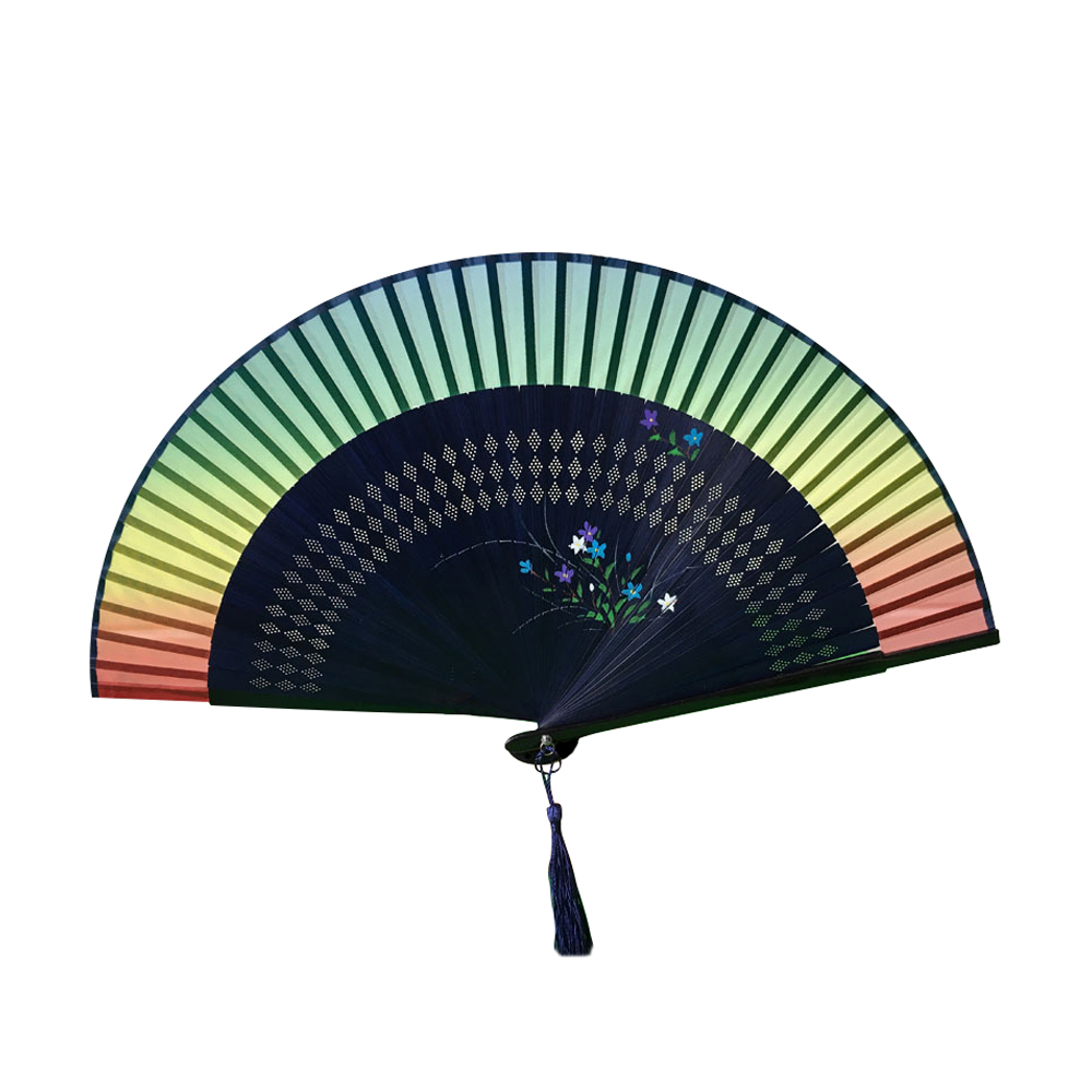 Ornerx Orchid Printed Rainbow Folding Fan with Tassel