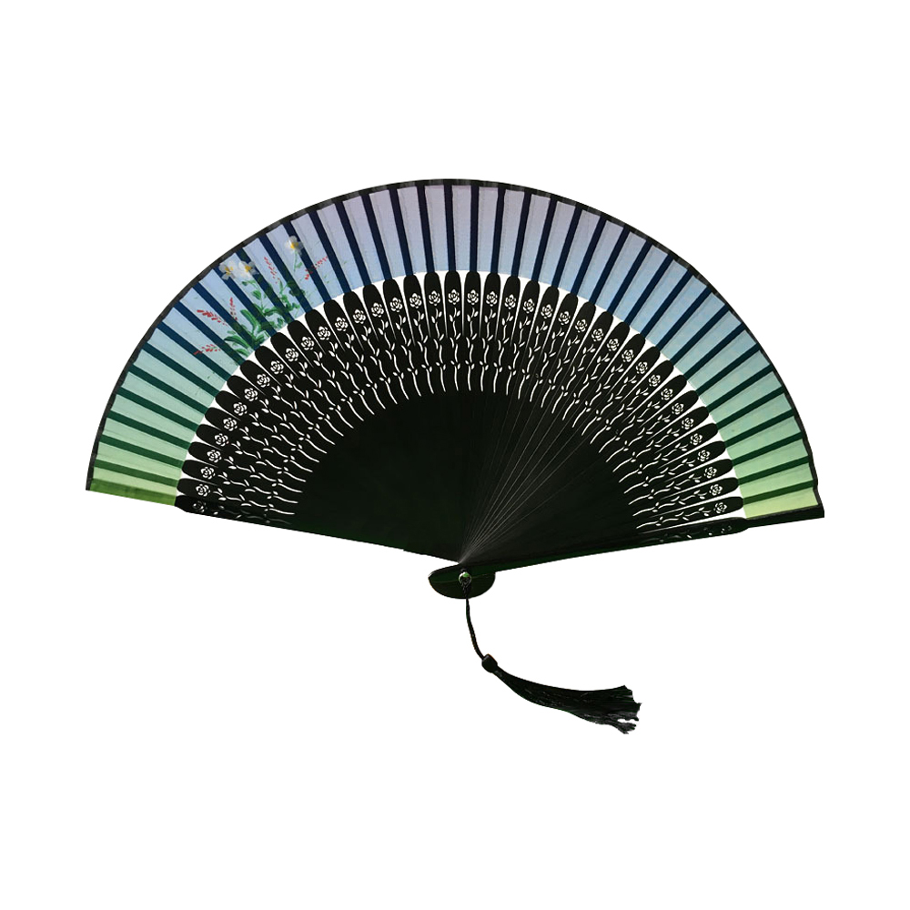 Ornerx Floral Pattern Rainbow Folding Fan with Tassel