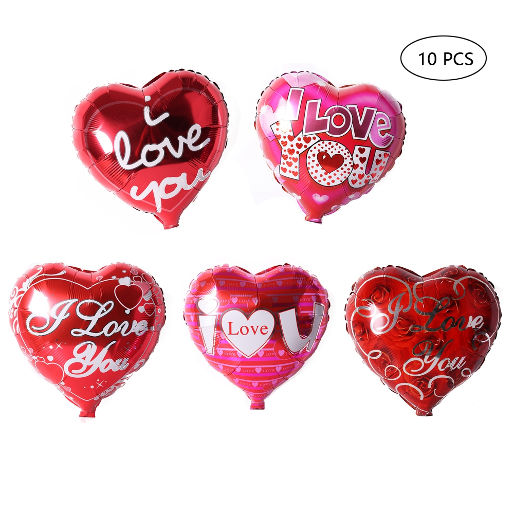ornerx 10 PCS Heart Mylar Balloons Party Decorations 18""