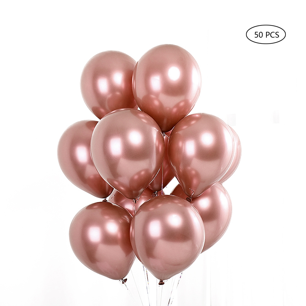 "ornerx 50 PCS Latex Balloons Birthday Party Decorations 12"" Rose Gold"