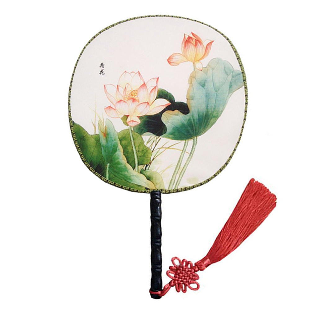 "Onerx Round Hand Fan Chinese Decoration 9.4""x14.6"""