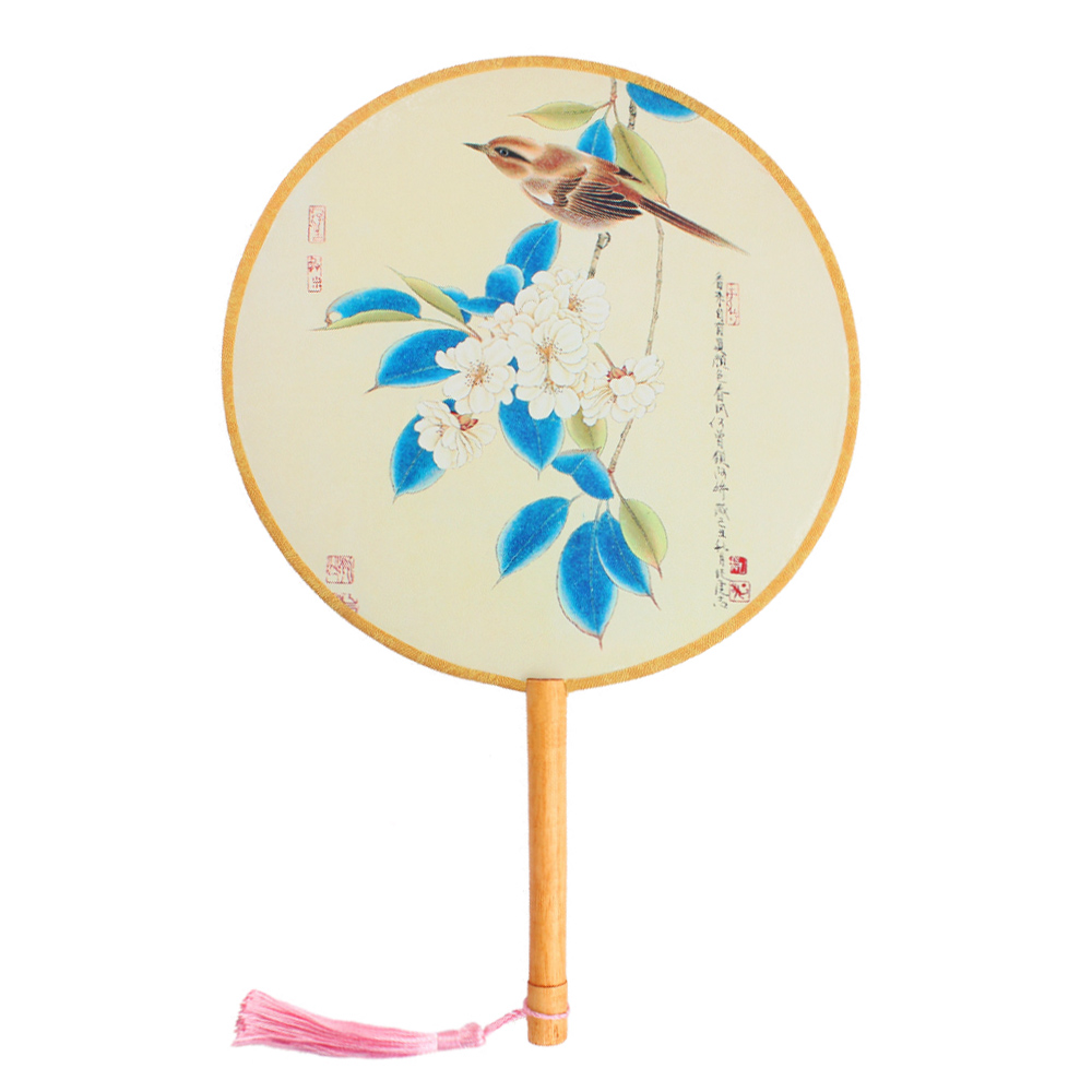 "Onerx Round Hand Fan Chinese Decoration For Women 8.3""x13"""