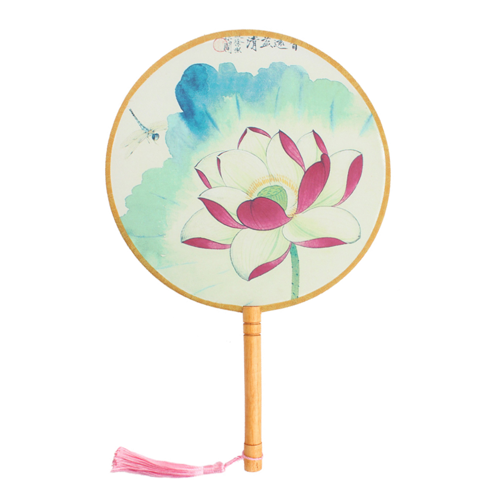 "Onerx Round Hand Fan Chinese Decoration For Wedding 8.3""x13"""