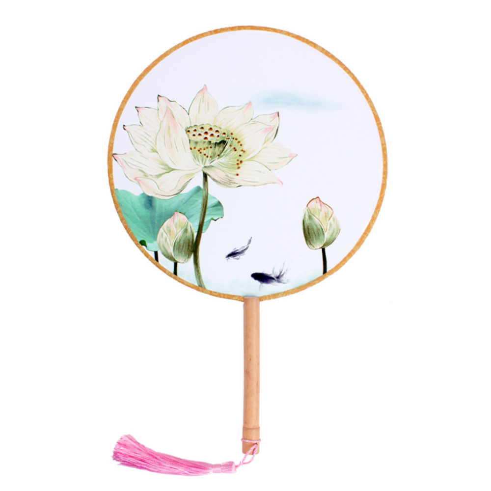 "Onerx Round Hand Fan Chinese Decoration For Kids 8.3""x13"""