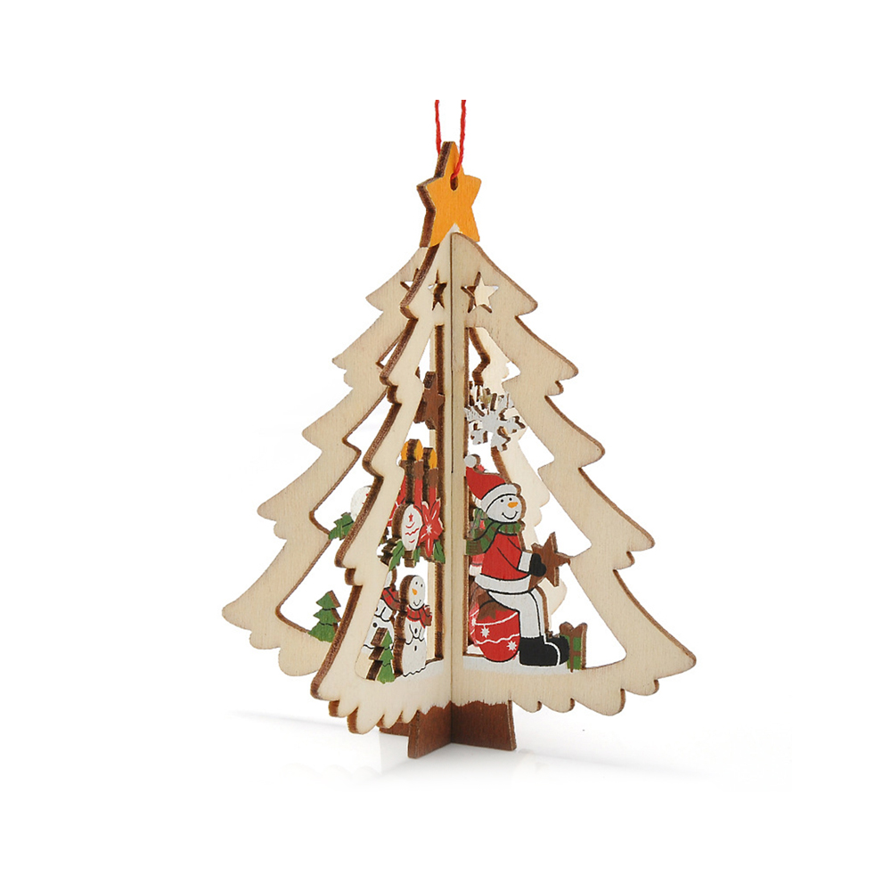 Ornerx Christmas Tree Ornaments 3D Wooden Hanging Decorations Christmas Tree Pack of 10