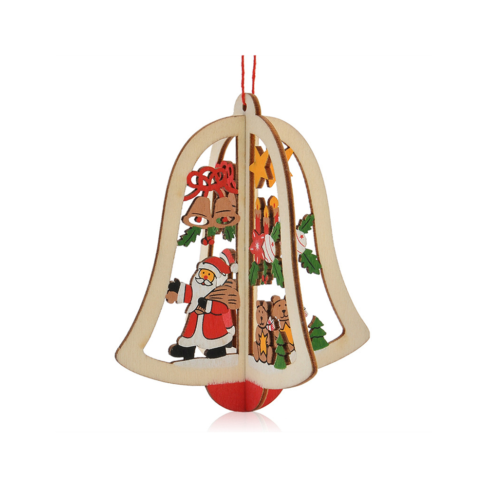 Ornerx Christmas Tree Ornaments 3D Wooden Hanging Decorations Bell Pack of 10