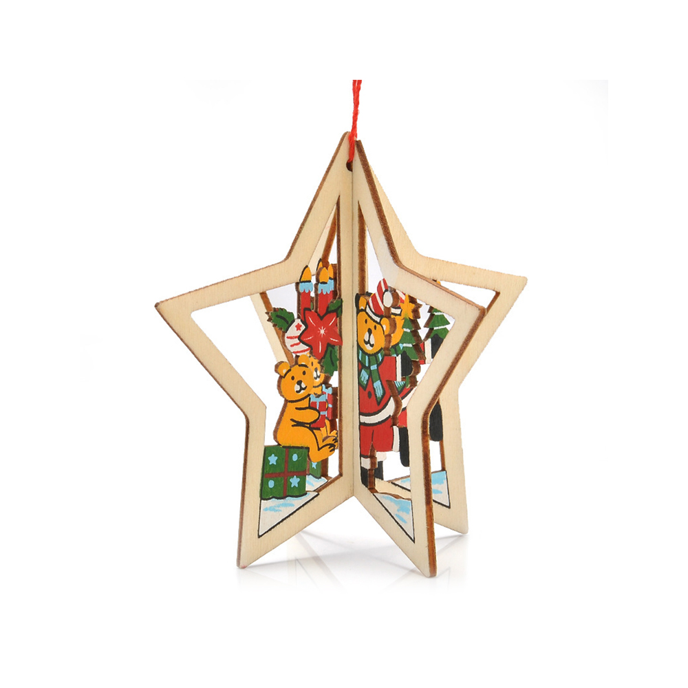 Ornerx Christmas Tree Ornaments 3D Wooden Hanging Decorations Star Pack of 10
