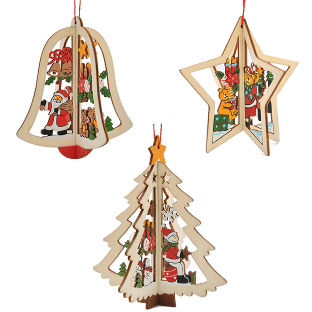 Ornerx Christmas Tree Ornaments 3D Wooden Hanging Decorations Pack of 12 (Random)