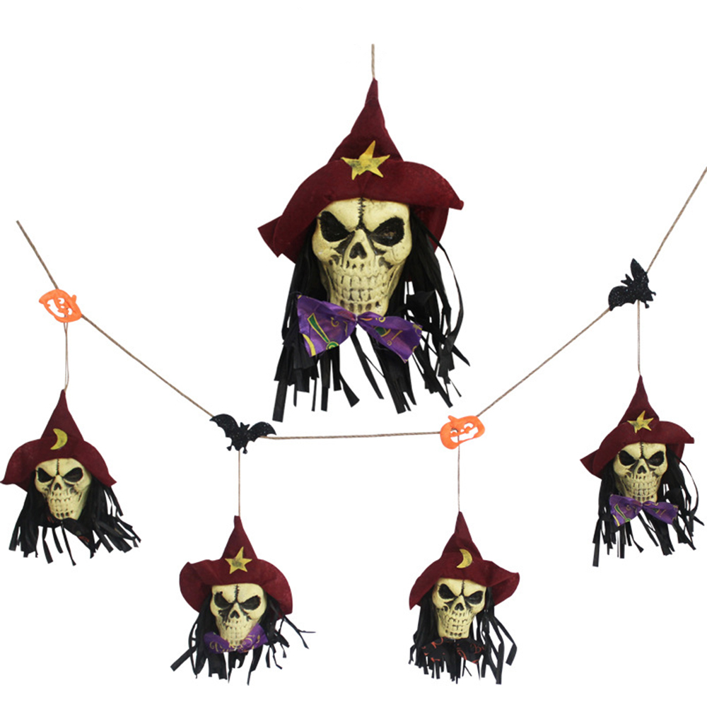 Ornerx Halloween Hanging Ornaments Skull String Party Props Red 5ft