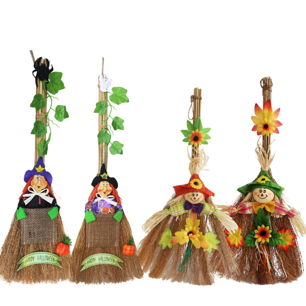 "Ornerx 20"" Halloween Witch Pumpkin Broomstick Prop Decoration Pack of 4"