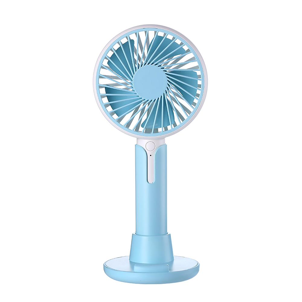 ornerx Handheld Rechargeable Desk Fan USB with Base Blue