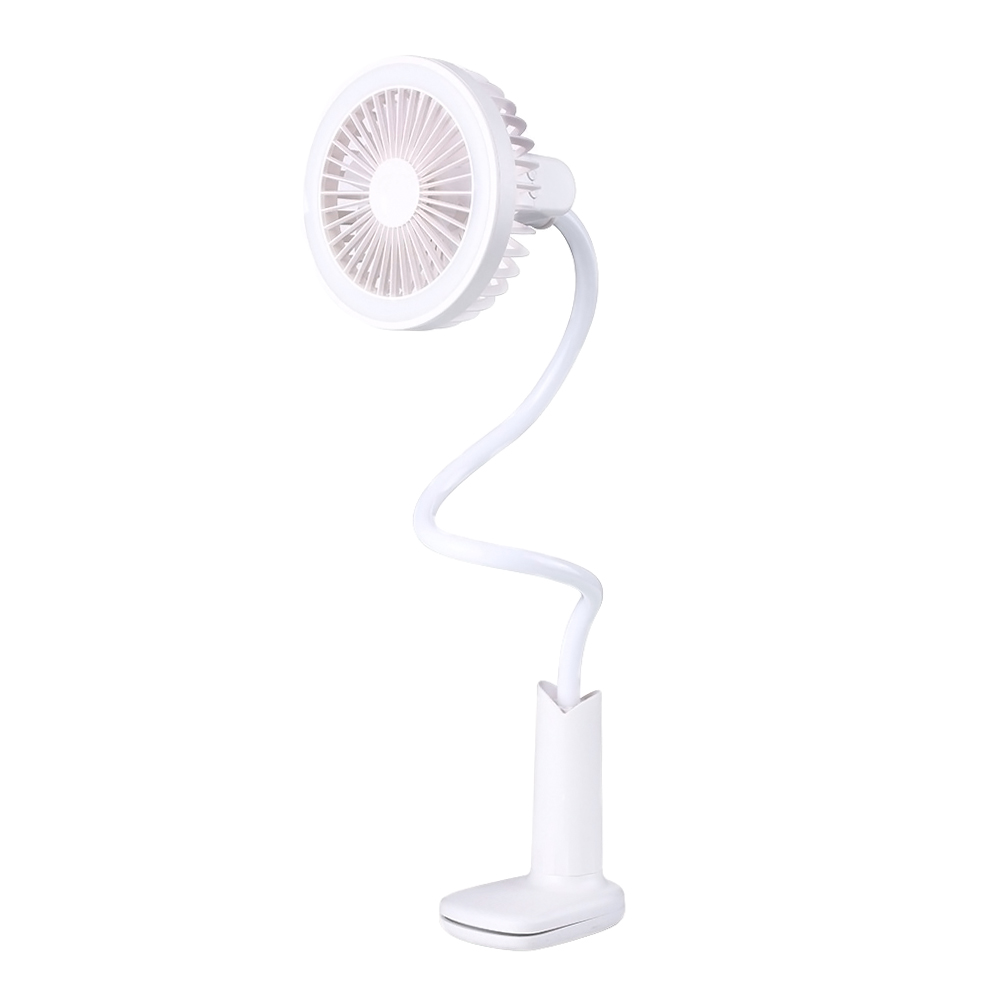 ornerx Flexible USB Clip on Desk Fan Rechargeable with LED Light White